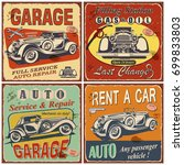 set of retro car posters.garage ... | Shutterstock .eps vector #699833803