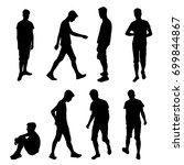 set vector silhouette teenager  ... | Shutterstock .eps vector #699844867