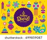 diwali hindu festival greeting... | Shutterstock .eps vector #699859087