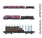 pink locomotive with railway... | Shutterstock .eps vector #699876553