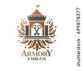 ancient fort emblem. heraldic... | Shutterstock .eps vector #699878377