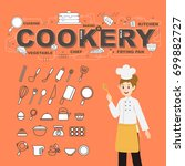 cookery with food icons set... | Shutterstock .eps vector #699882727