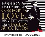 fashion quote with woman in... | Shutterstock .eps vector #699882817