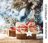 winter christmas background... | Shutterstock . vector #699883513
