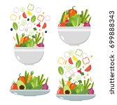 vegetable  plates and bowls.... | Shutterstock .eps vector #699888343