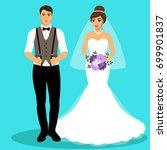 bride and groom. couple.... | Shutterstock .eps vector #699901837