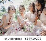 bride and bridesmaids rest in... | Shutterstock . vector #699919273