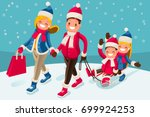 christmas shopping holiday for... | Shutterstock .eps vector #699924253