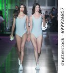 Small photo of BARCELONA - JUNE 29: models walking on the BCN Brand catwalk during the 080 Barcelona Fashion runway Spring/Summer 2018 on June 29, 2017 in Barcelona, Spain.