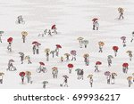 banner with tiny grey people... | Shutterstock .eps vector #699936217