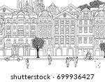 people walking through prague ... | Shutterstock .eps vector #699936427
