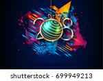 2018 happy new year background... | Shutterstock .eps vector #699949213