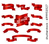 silk red 3d ribbon banners... | Shutterstock .eps vector #699953527