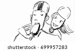 girl feeding her boyfriend with ... | Shutterstock .eps vector #699957283