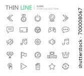 collection of game thin line...