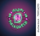 happy halloween neon sign with... | Shutterstock .eps vector #700016293