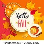hello fall lettering in gold... | Shutterstock .eps vector #700021207