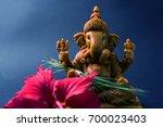 happy ganesh chaturthi greeting ... | Shutterstock . vector #700023403