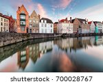 bruges canals  spiegelrei with... | Shutterstock . vector #700028767