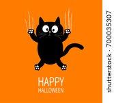 happy halloween. black cat claw ... | Shutterstock .eps vector #700035307