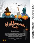 pumpkin halloween party... | Shutterstock .eps vector #700041127