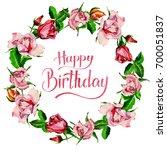wildflower rose flower wreath... | Shutterstock . vector #700051837