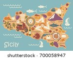 stylized map of sicily with... | Shutterstock .eps vector #700058947