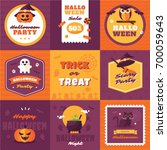 set of vintage happy halloween... | Shutterstock .eps vector #700059643