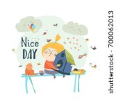 cute girl hugging birdhouse   Shutterstock .eps vector #700062013