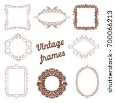 vintage frames hand drawn set.... | Shutterstock .eps vector #700066213