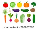 vegetables flat icons set on... | Shutterstock .eps vector #700087333