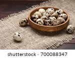 Quail Eggs In Wooden Plate Ove...