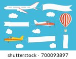 flying advertising banner.... | Shutterstock .eps vector #700093897