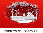 christmas paper art. red tone... | Shutterstock .eps vector #700099147