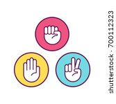 rock paper scissors icons.... | Shutterstock .eps vector #700112323