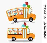school buses with kids. | Shutterstock .eps vector #700146163