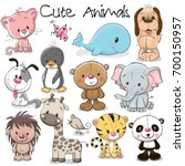 Set Of Cute Animals On A White...