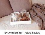 cozy autumn. home cosiness.... | Shutterstock . vector #700155307