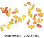 oak leaves flying confetti... | Shutterstock .eps vector #700164553