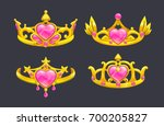 cartoon golden princess crowns... | Shutterstock .eps vector #700205827