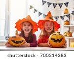 cute little children girls with ... | Shutterstock . vector #700214383