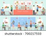 fast food restaurant interior... | Shutterstock .eps vector #700217533