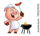 pig chef holding a sausage on... | Shutterstock .eps vector #700229533