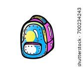colorful backpack icon. hipster ... | Shutterstock .eps vector #700234243