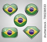 brazil flag icons. | Shutterstock . vector #700238533