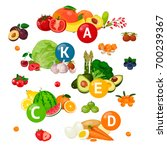 vegetables  berries and fruits  ... | Shutterstock .eps vector #700239367