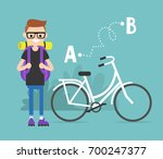 young character traveling by... | Shutterstock .eps vector #700247377