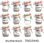 Isolated  White Savings Jars...