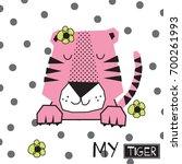 Cute Tiger Baby Girl Cartoon...
