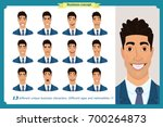 set of male facial emotions...   Shutterstock .eps vector #700264873